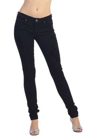 Angry Rabbit Black Tencel Destroyed Skinny Premium Jeans
