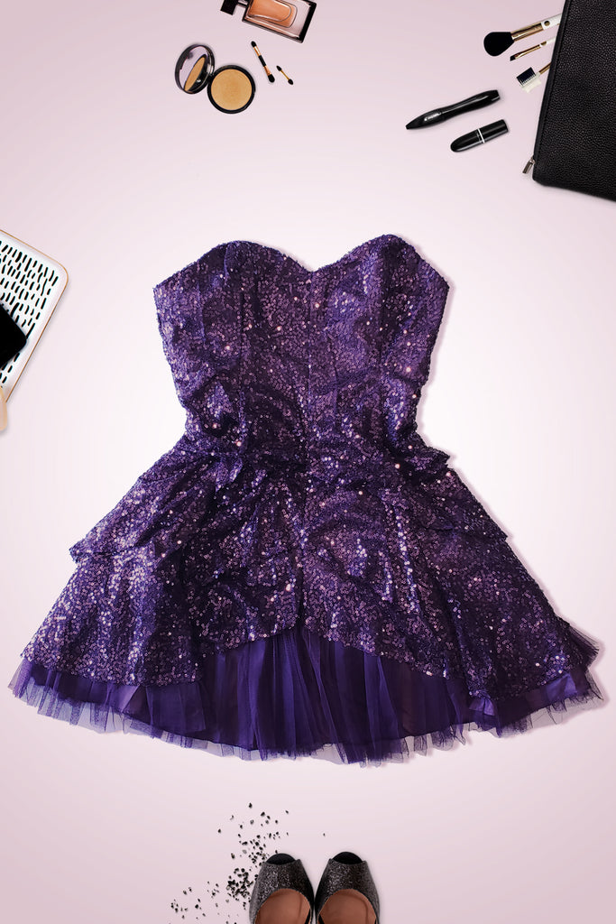 Purple Shine Princess Dress with Detachable Strap