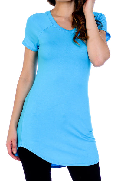 Scoop Neck Shirttail Tunic Top - Aqua