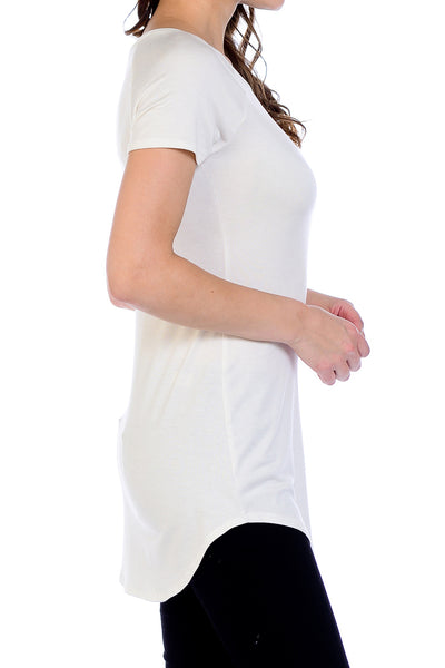 Scoop Neck Shirttail Tunic Top - Ivory