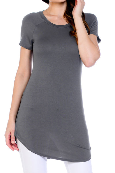 Scoop Neck Shirttail Tunic Top-Dark Grey
