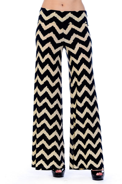 Zig-Zag Chevron Print High Waist Wide Leg Long Palazzo Pants