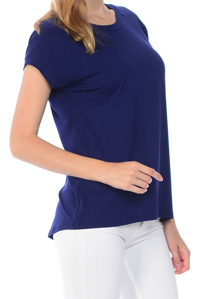 Scoop Neck Set-in Short Sleeves Overblouse Style Shirt Top