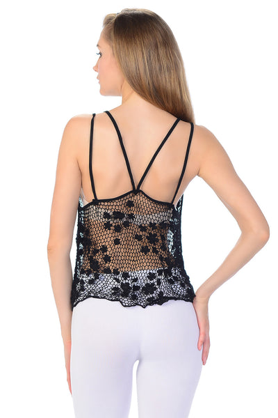 See-Through Crochet Knit Tank Top