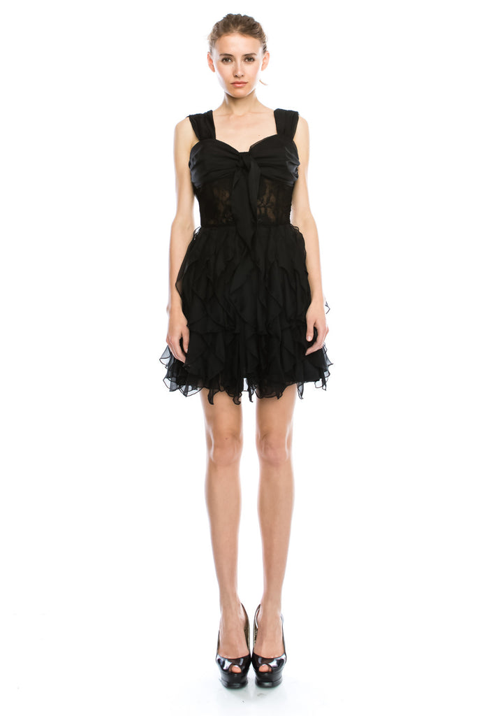 Emily Silverstone Black Ribbon Heart Layerd Mini Cocktail Party Dress
