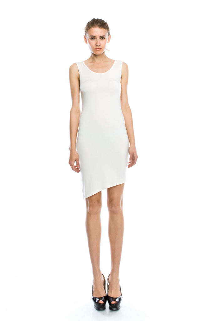 Simple Solid Jersey Slope Hem Mini Sheath Dress (More Color)