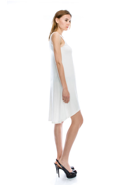 V-Neck High Low Solid Jersey Dress - Ivory