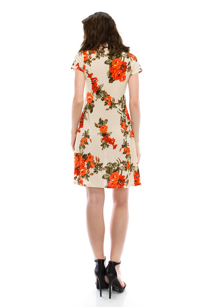 Vintage Flower Printed Midi Flare Dress
