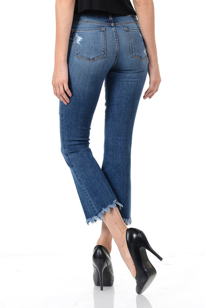 Angry Rabbit Fray Hem Destroyed Cropped Kick Flare Jeans