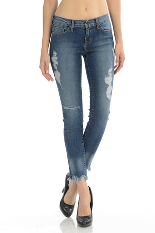 Angry Rabbit Frey Hem Destroyed Cropped Jeans