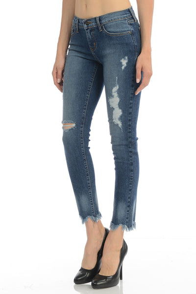Angry Rabbit Frey Hem Destroyed Cropped Jeans (2 Colors)