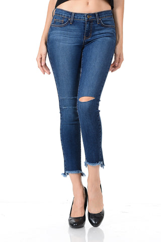 Angry Rabbit Row Notched Hem Cropped Jeans