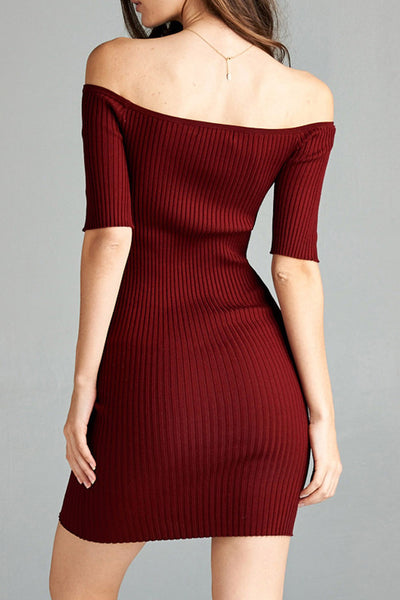 3/4 Sleeve Off Shoulder Rib Dress (2 Colors)
