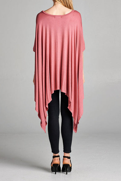 Heavy Drape Long Wide 3/4 Dolman Sleeve Blouse Top