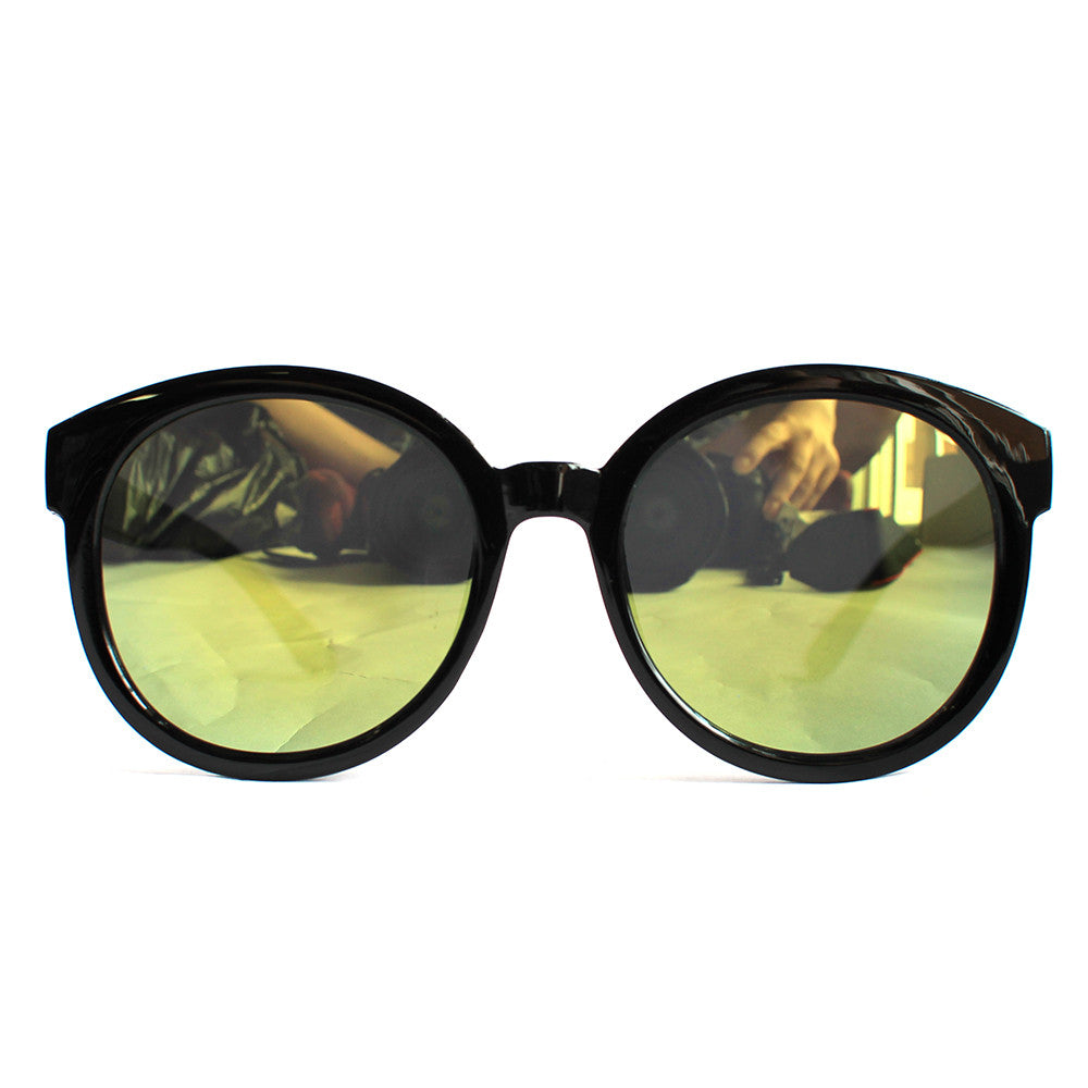 Mirror Lens Black Horn Flat Frame Sunglasses (Yellow)