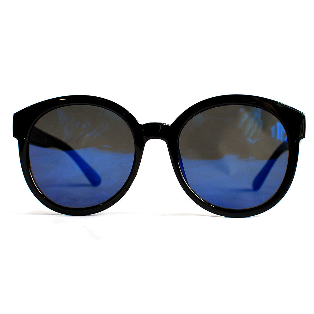 Mirror Lens Black Horn Flat Frame Sunglasses (Blue)