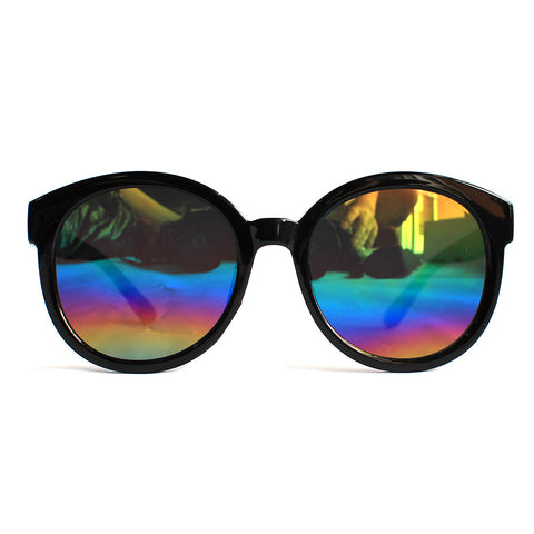 Mirror Lens Black Horn Flat Frame Sunglasses (Rainbow)