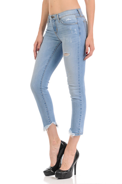 Angry Rabbit Hi Low Fray Hem Cropped Premium Denim Jeans