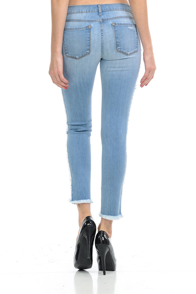 Angry Rabbit Side Seam Fray Cropped Premium Denim Jeans