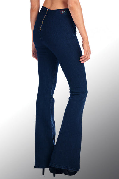 Angry Rabbit Button Detail Flare Jeans