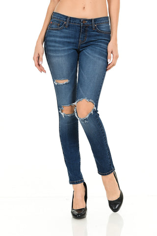 Angry Rabbit Cut Out Ankle Skinny Premium Denim Jeans