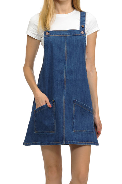 Angry Rabbit Overall Premium Denim Short Mini Dress