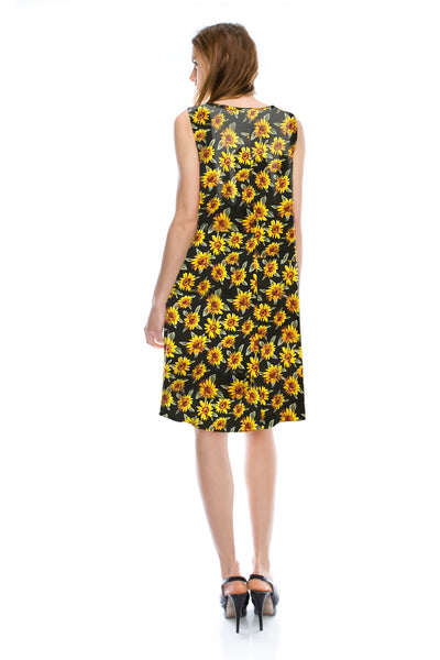 [Plus Size] Flower Print A Line Flare Dress