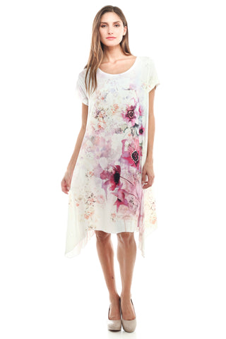 Flare Drape Bottom Floral Print Dress