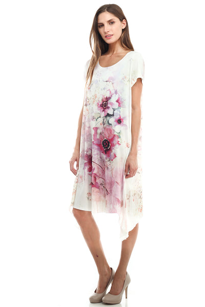 [Plus Size] Flare Drape Bottom Floral Print Dress