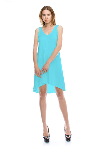 V-Neck High Low Solid Jersey Dress