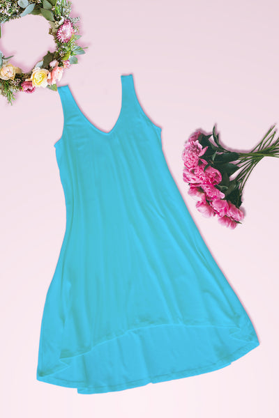 V-Neck High Low Solid Jersey Dress - Aqua