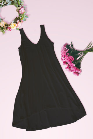 V-Neck High Low Solid Jersey Dress - Black