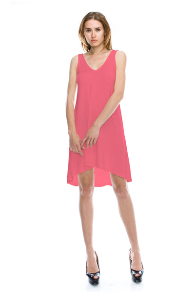 V-Neck High Low Solid Jersey Dress - Coral