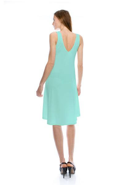V-Neck High Low Solid Jersey Dress - Mint