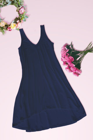 V-Neck High Low Solid Jersey Dress - Navy