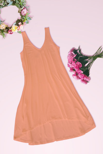 V-Neck High Low Solid Jersey Dress - Peach