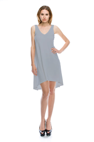 V-Neck High Low Solid Jersey Dress - Light Grey