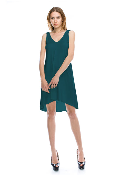 V-Neck High Low Solid Jersey Dress - Teal