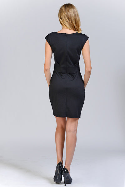 Low Shoulder High Waist Black Mini Dress