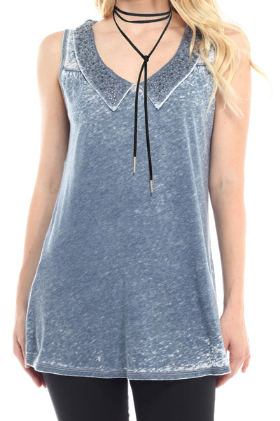 Beaded Collar Tie Dye Sleeveless Blouse
