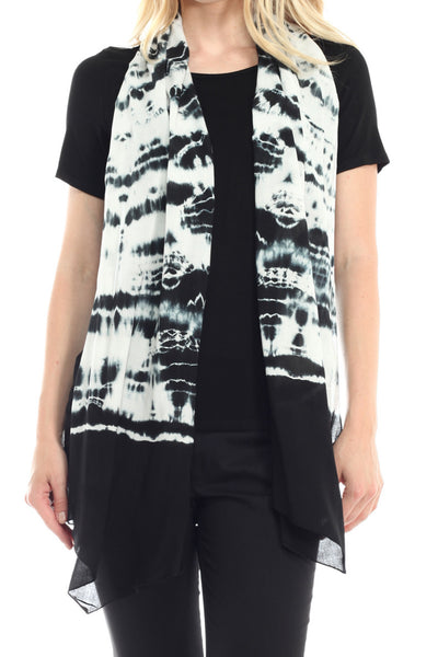 Attached Tie Dye Scarf Short Sleeve Blouse