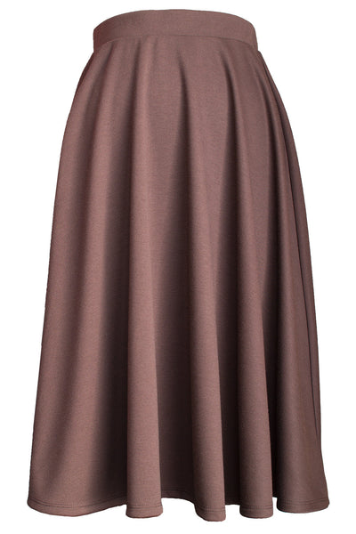 Elastic Waist Mid Long Flare Skirt - Brown