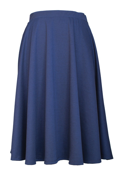 Elastic Waist Mid Long Flare Skirt - Navy