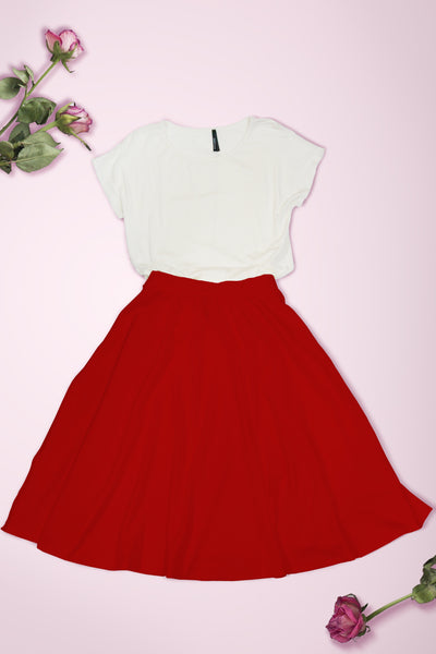 Elastic Waist Mid Long Flare Skirt - Red