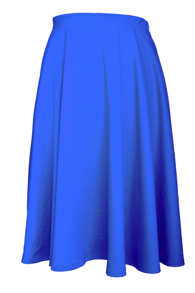 Elastic Waist Mid Long Flare Skirt - Royal Blue
