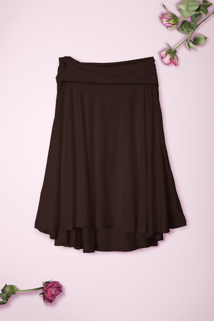 Flowy Mid Length Skirt - Brown