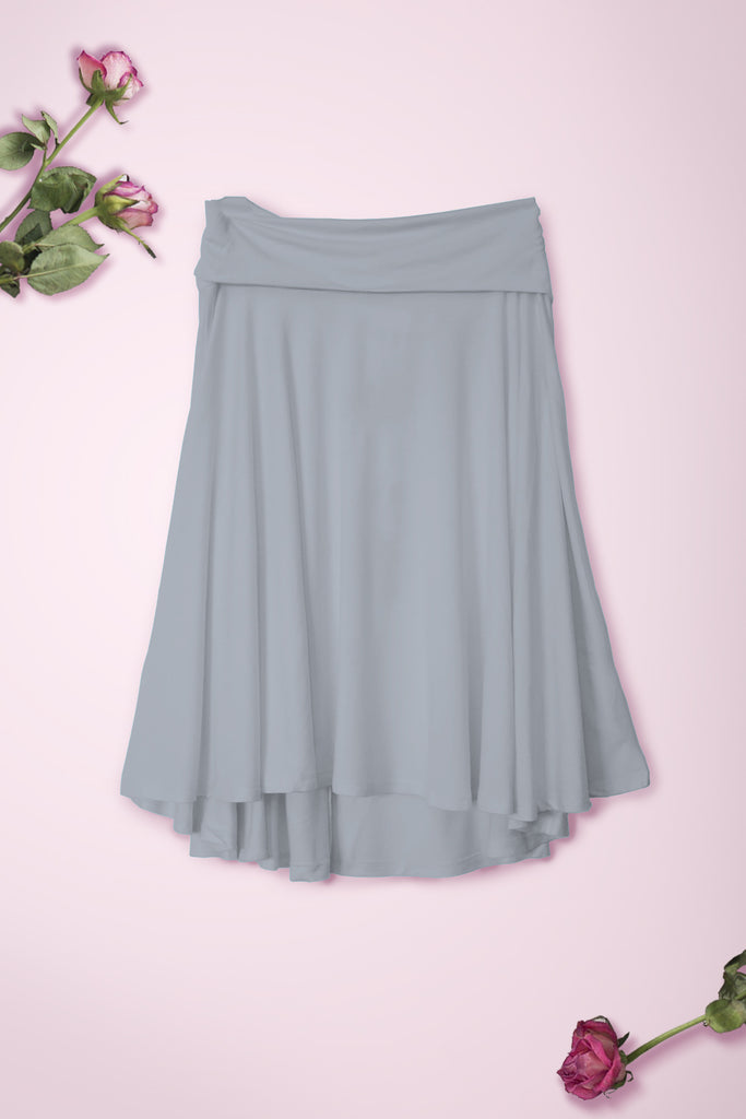 Flowy Mid Length Skirt - Light Grey