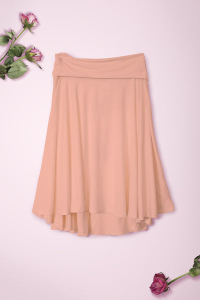 Flowy Mid Length Skirt - Peach