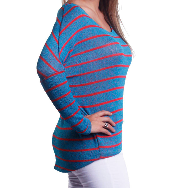 Striped Dolman Sleeve High Low Summer Knit Sweater