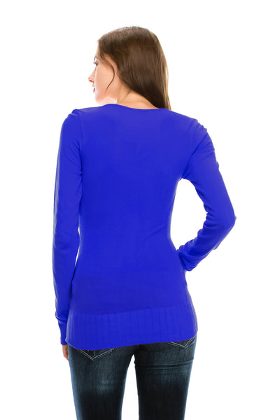 Basic Bamboo Cotton Seamless Stretch Sweater (12 Colors)
